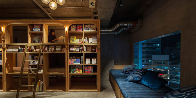 Your travel accommodation, surrounded by books.