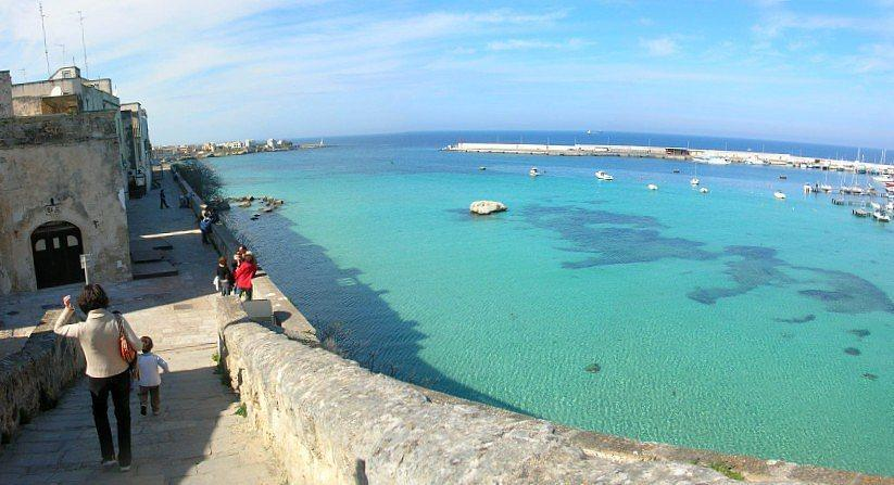 Otranto views of the bay with crystal clear sea