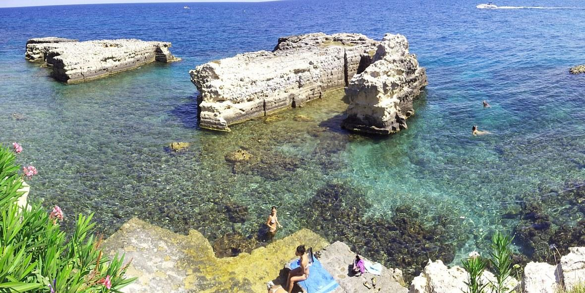 Otranto bay rocky platform sea access