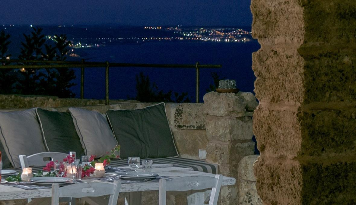 Furnished terrace by night